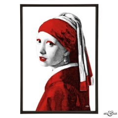 Museum Girl with Pearl Earring red