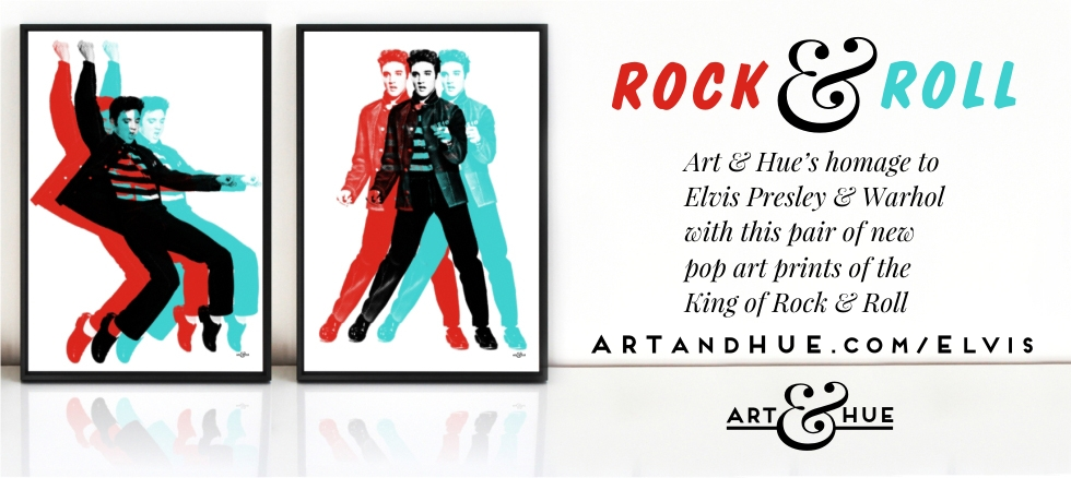 Elvis Presley Rock & Roll Pop Art by Art & Hue