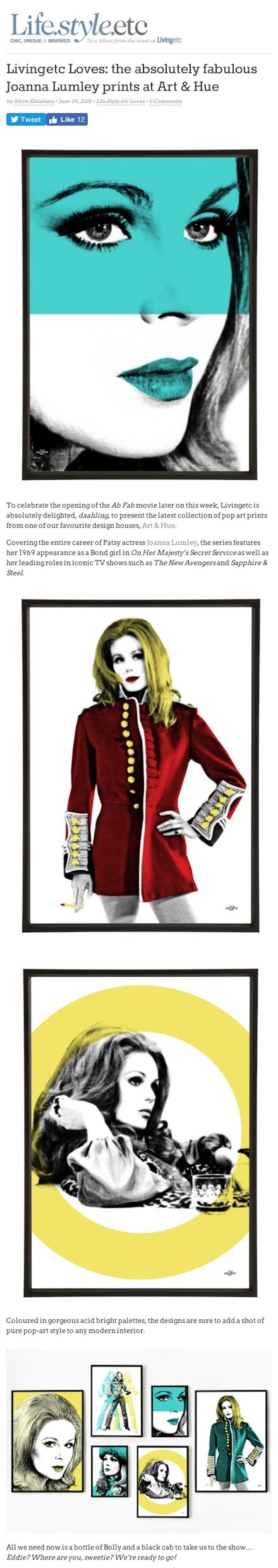 Livingetc Loves: the absolutely fabulous Joanna Lumley prints at Art & Hue | Life.Style.etc