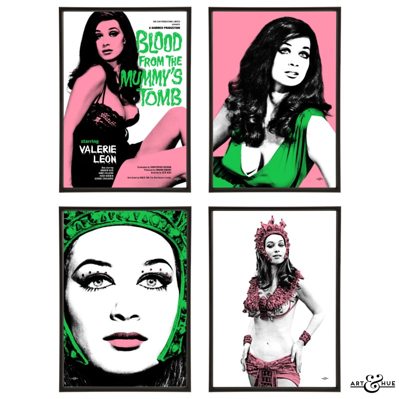 Blood from the Mummy's Tomb group of four prints with Valerie Leon