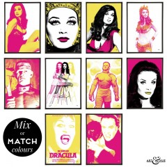 Hammer Horror Group of Pop Art Prints in Fuchsia & Yellow