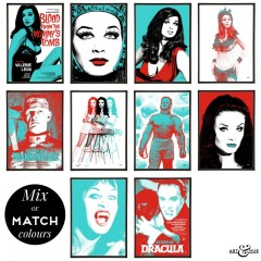 Hammer Horror Group of Pop Art Prints in Red & Aqua