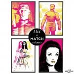 Horror of Frankenstein Group of pop art prints in fuchsia & yellow