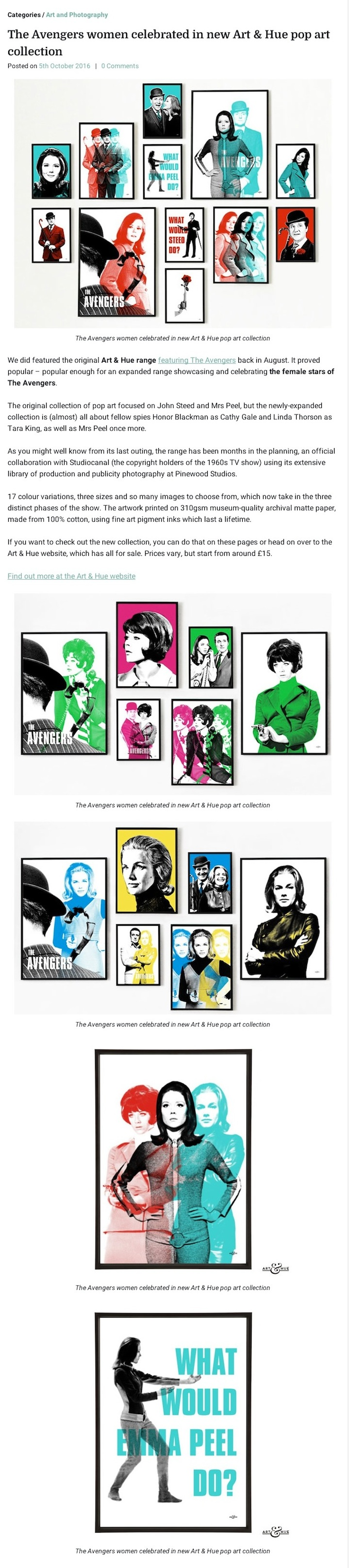 Art & Hue's official pop art range featuring The Avengers women is now available to buy.
