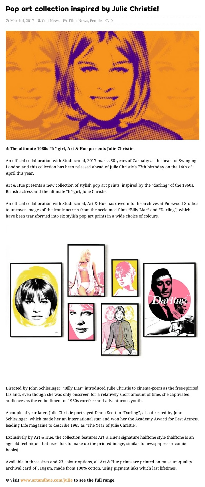 Pop art collection inspired by Julie Christie! – We Are Cult