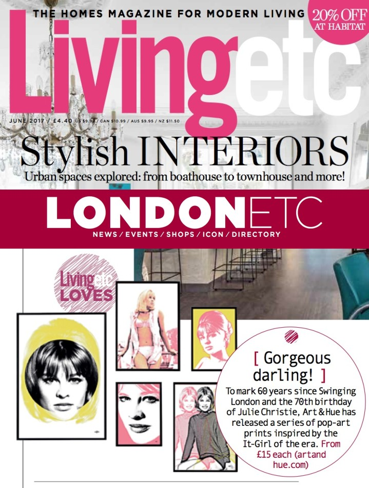 Julie Christie pop art in June 2017 issue of LivingEtc