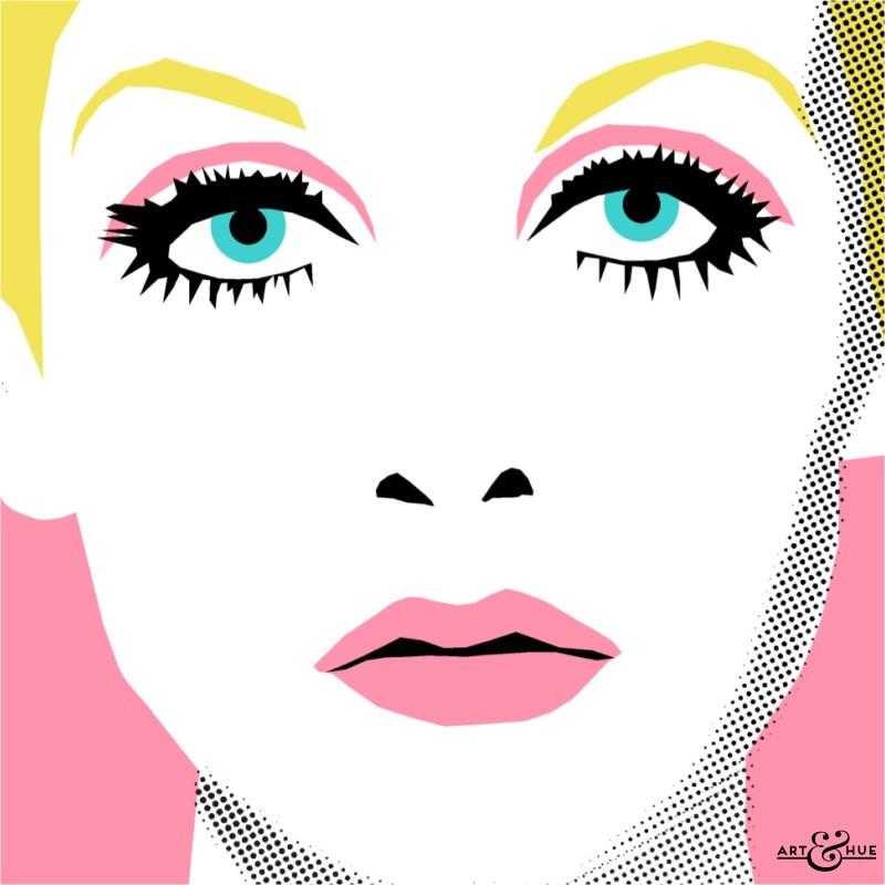 Twiggy aka Lesley Lawson illustrated pop art print