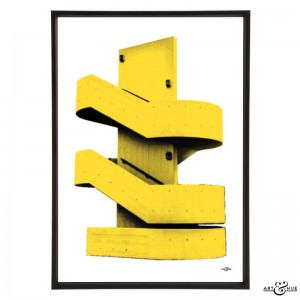 Brutalist Stairs South Bank pop art by Art & Hue in Southbank Yellow