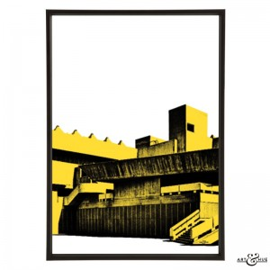 Hayward Brutalism South Bank pop art by Art & Hue in Southbank Yellow