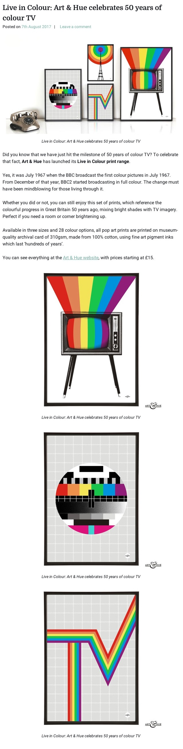 Live in Colour: Art & Hue celebrates 50 years of colour TV | Retro to Go