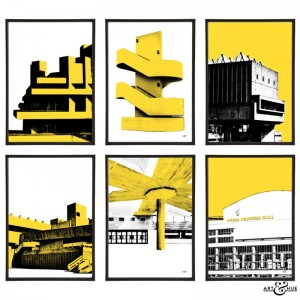 South Bank Group of pop art prints by Art & Hue in Southbank Yellow