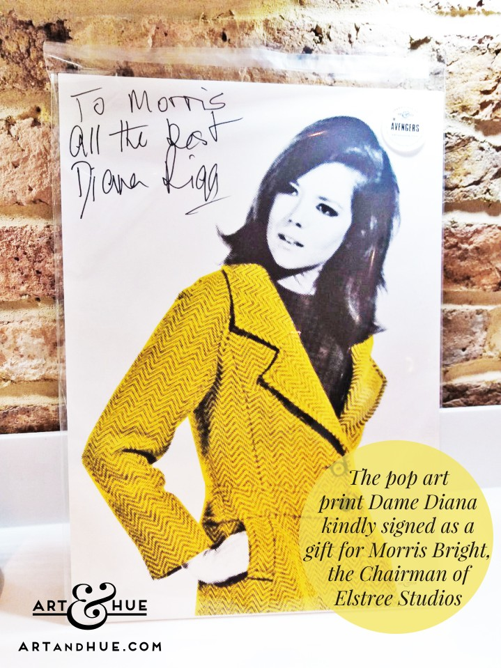 Art & Hue pop art print signed by Dame Diana Rigg as a gift for the Chairman of Elstree Studios Morris Bright