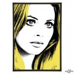 Britt Ekland pop art print in Yellow