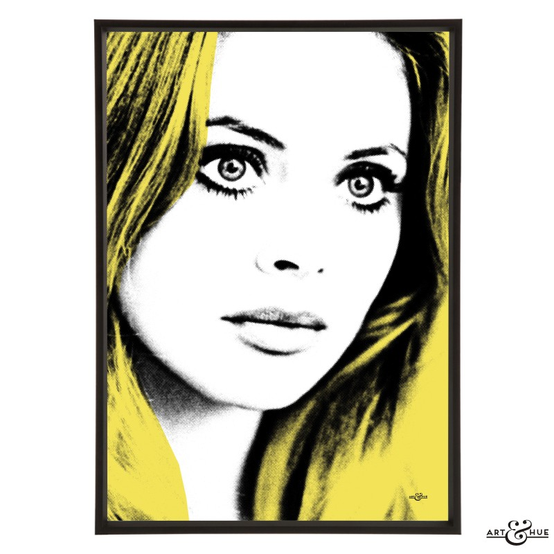 Britt Ekland pop art print in Yellow