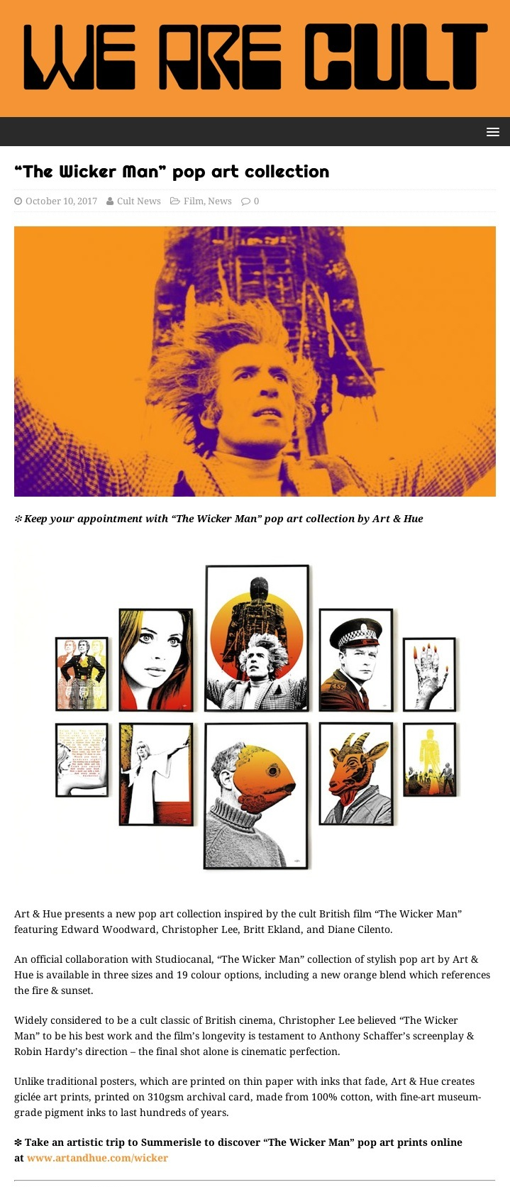 The Wicker Man pop art collection – We Are Cult