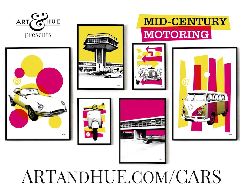 Art & Hue presents Mid-Century Motoring - stylish pop art inspired by the Modernist age of road travel