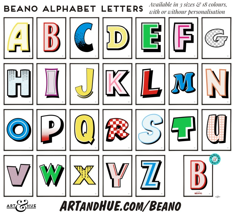 Beano Alphabet Letters - personalise with a name or place