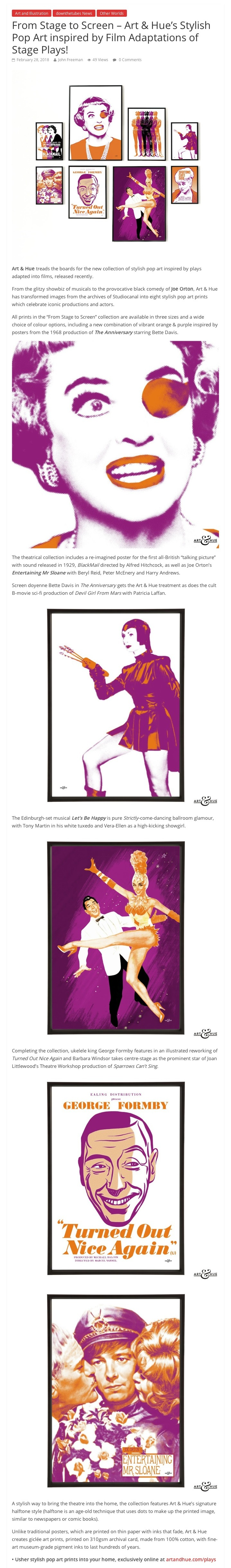 From Stage to Screen – Art & Hue's Stylish Pop Art inspired by Film Adaptations of Stage Plays! – downthetubes.net
