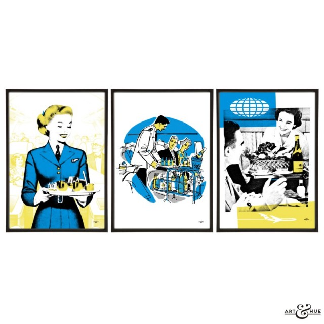 Cabin Crew trio of pop art prints by Art & Hue.