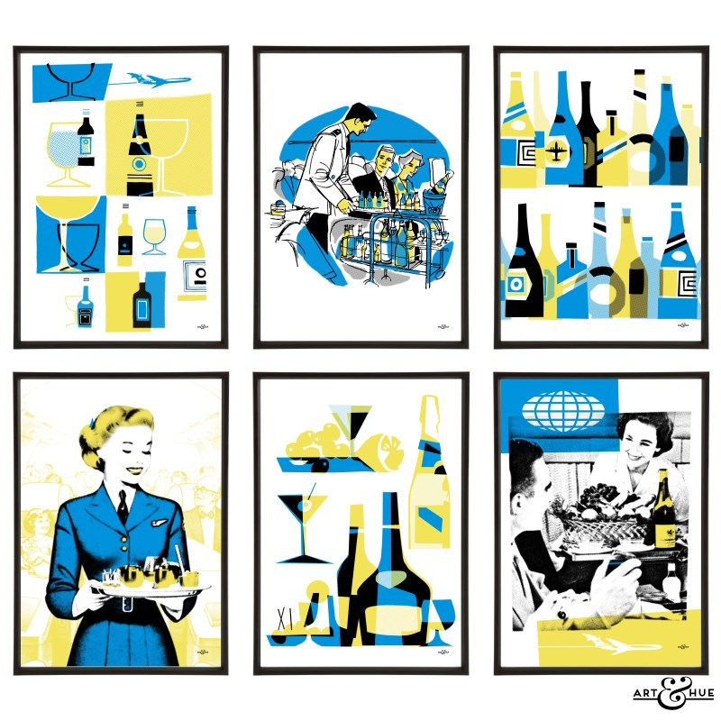 Jet Set Drinks Group of 6 pop art prints by Art & Hue