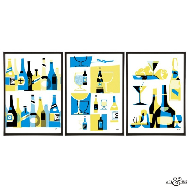 Mid-Century Bar Trio of Drinks prints by Art & Hue