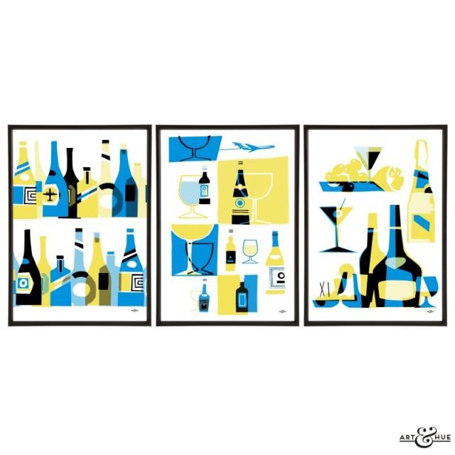 Mid-Century Bar Trio of Drinks prints by Art & Hue