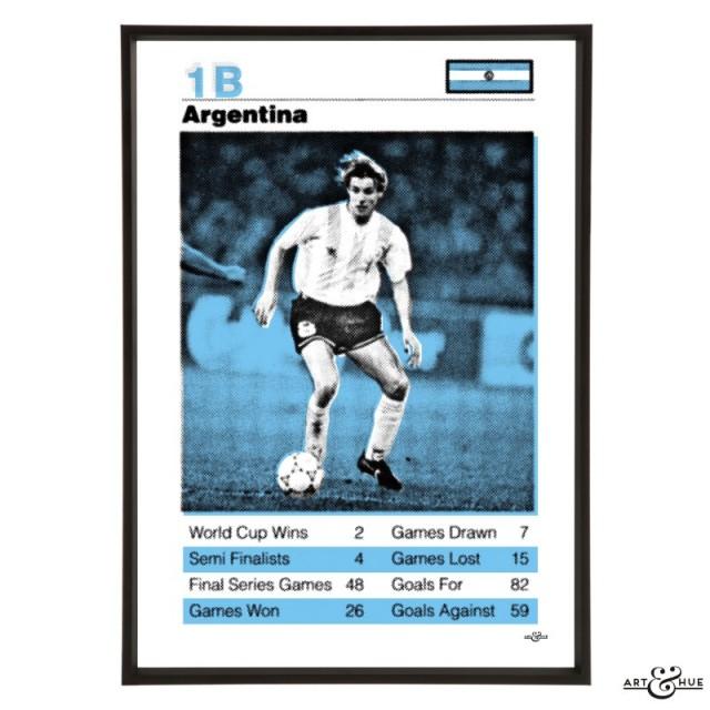 Argentina World Cup Football Team Pop Art Print in Sky Blue