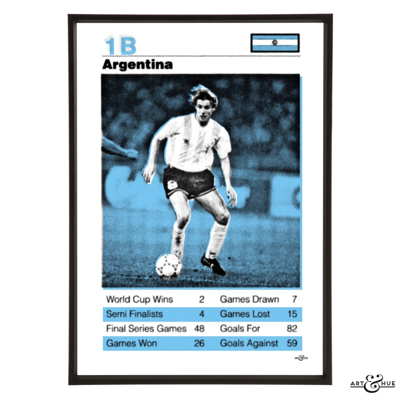 Argentina World Cup Football Team Pop Art Print in Sky Blue