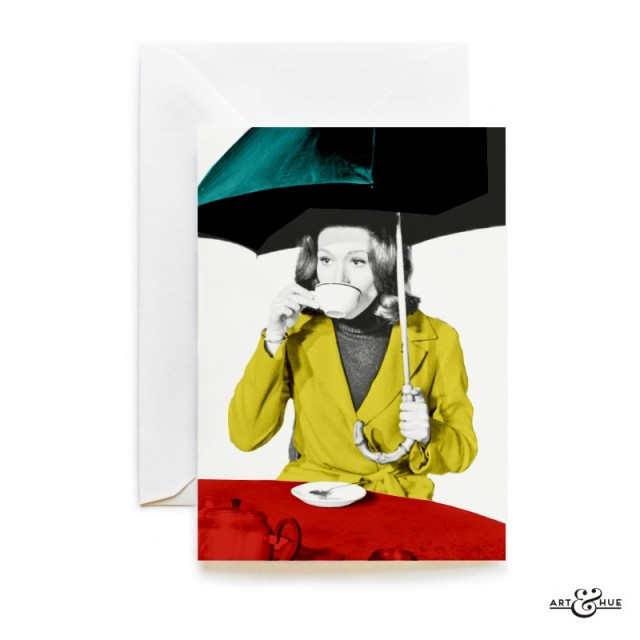 British Tea Greeting Card The Avengers Emma Peel Diana Rigg