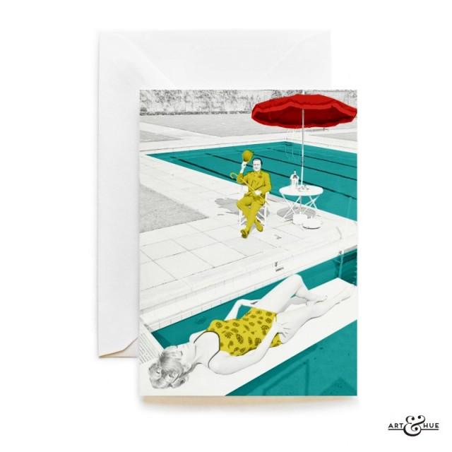 Poolside Greeting Card The Avengers John Steed Patrick Macnee and Edina Ronay sunbathing