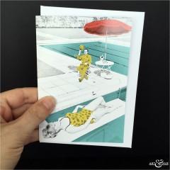 Poolside Greeting Card The Avengers John Steed Patrick Macnee and Edina Ronay sunbathing scale