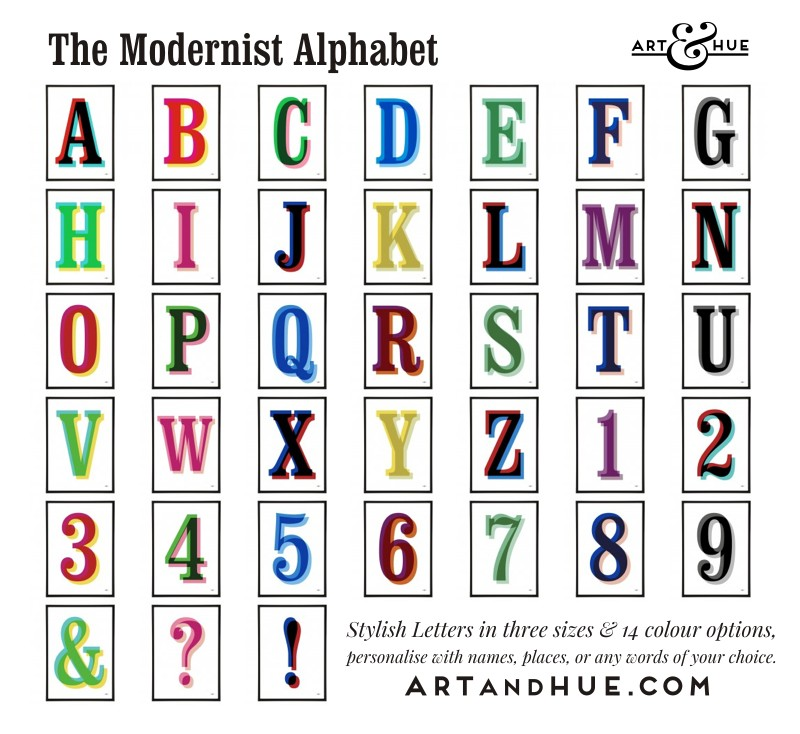 Art & Hue's Modernist Alphabet Prints in 3 sizes & 14 colour options