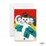 Christmas Snowman card with actresses Valerie Carlton & Yvonne Furneaux