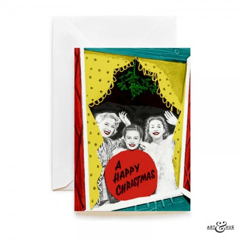 Christmas Window Card with actresses Sandra Dorne, Janette Scott, & Valerie Carlton by Art & Hue