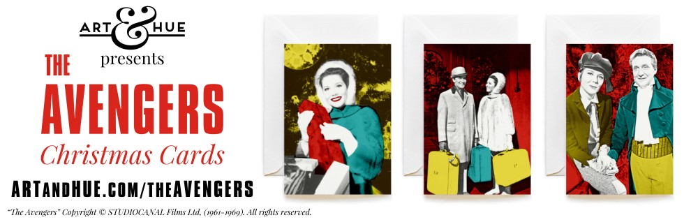 Stylish Christmas Cards featuring The Avengers Steed & Mrs Emma Peel by Art & Hue