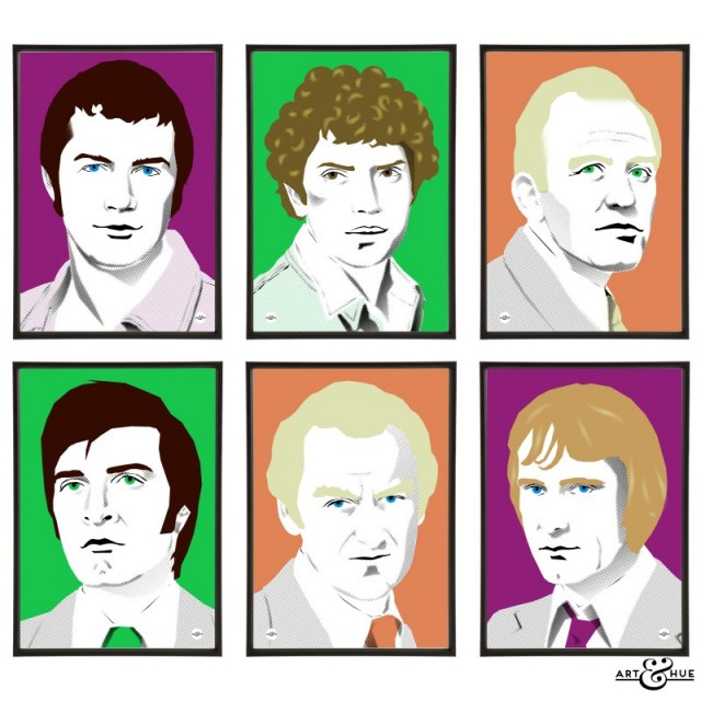 Group of six 1970s cops prints illustrated by Art & Hue