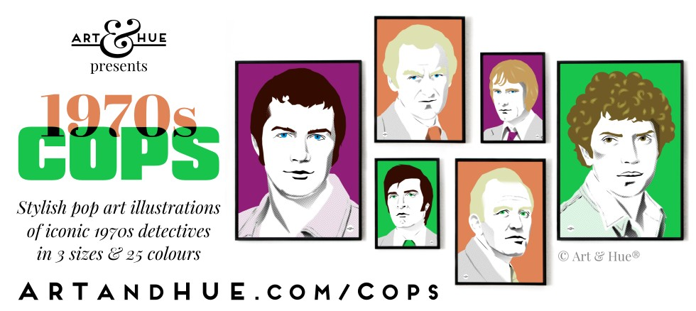 Art & Hue presents 1970s Cops stylish pop art illustrations