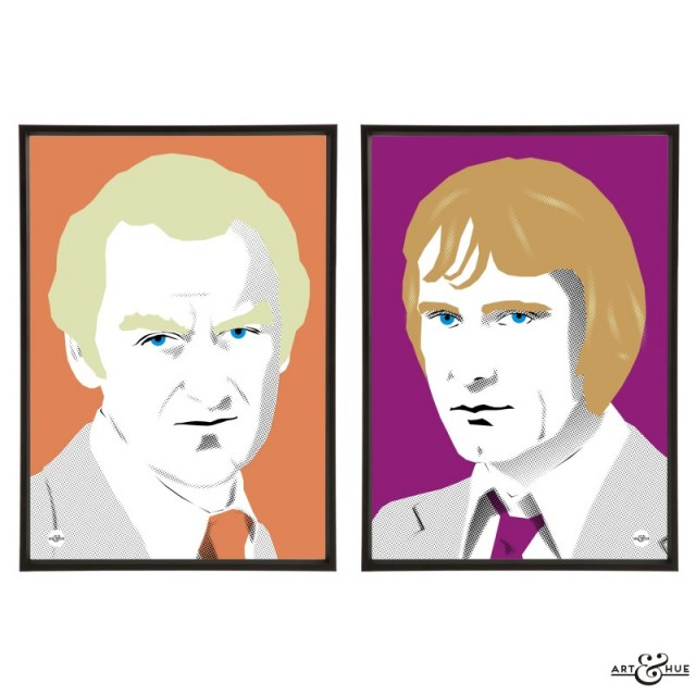 Pair of 1970s cops prints illustrated by Art & Hue with The Sweeney's John Thaw & Dennis Waterman