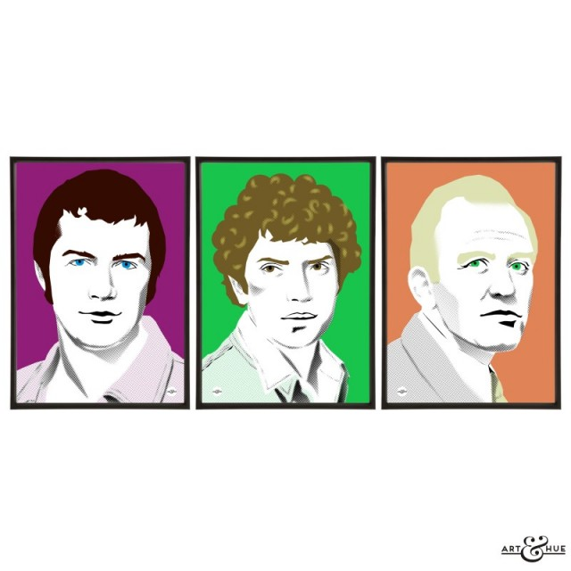 Trio of 1970s cops prints illustrated by Art & Hue with The Professionals Lewis Collins, Martin Shaw & Gordon Jackson