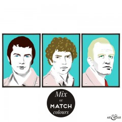 Trio of 1970s cops prints illustrated by Art & Hue with The Professionals Lewis Collins, Martin Shaw & Gordon Jackson in Red & Aqua