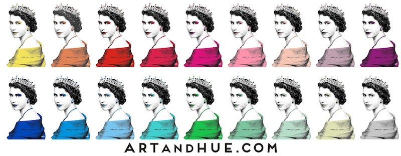 The Queen Pop Art in 19 colours by Art & Hue