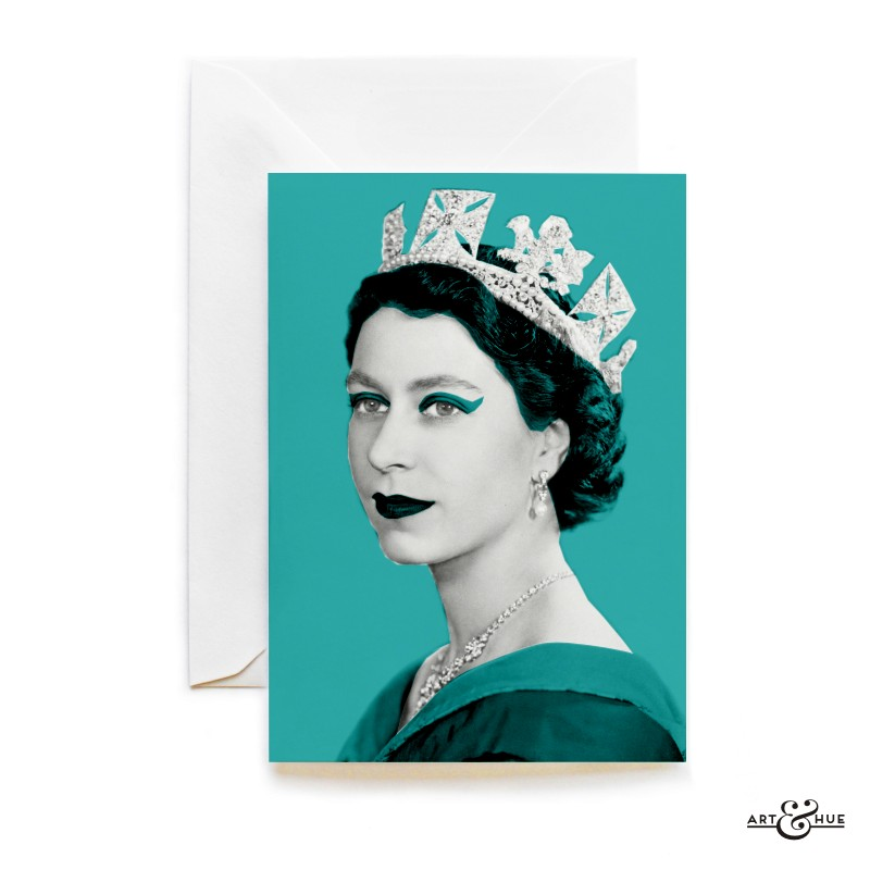 Queen Elizabeth II greeting card in Aqua by Art & Hue