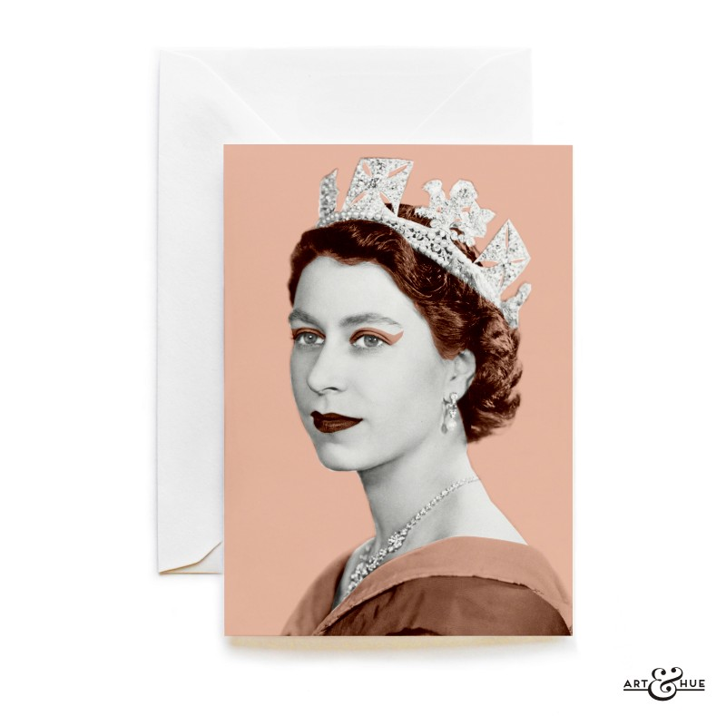 Queen Elizabeth II greeting card in Blush Pink by Art & Hue
