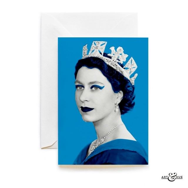 Queen Elizabeth II greeting card in Cyan by Art & Hue