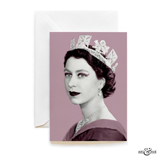 Queen Elizabeth II greeting card in Lilac by Art & Hue