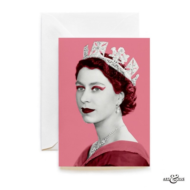 Queen Elizabeth II greeting card in Think Pink by Art & Hue