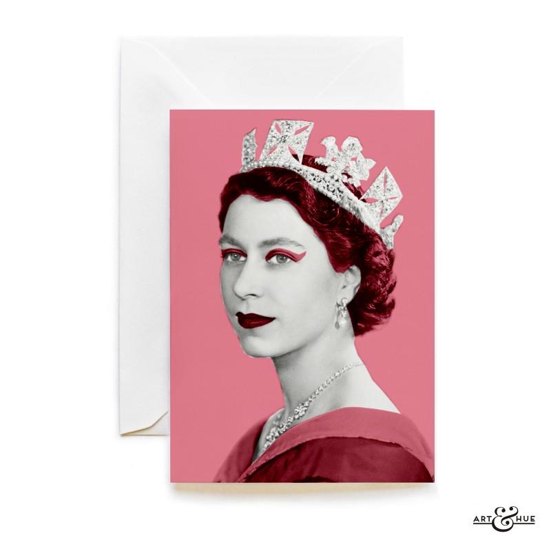 Queen Elizabeth II greeting card in Think Pink by Art & Hue