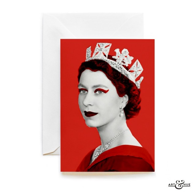 Queen Elizabeth II greeting card in Red by Art & Hue