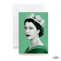Queen Elizabeth II greeting card in Verdigris Green by Art & Hue