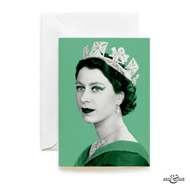 Queen Elizabeth II greeting card in Verdigris Green by Art & Hue